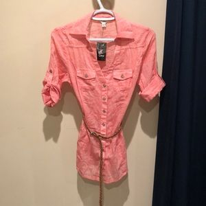 Guess belted tunic in coral.  Size xs